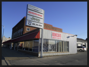 George Kincaid's auto sales dealership in little Tres Pino, California